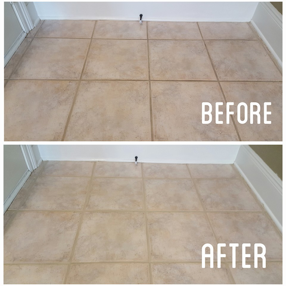 Before And After Tile Grout Cleaning Southerncarpetsolutions Southern Carpet Solutions